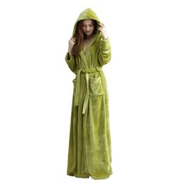 97f60d2396 Couple Autumn Winter Flannel Home Pajamas Robe Solid Color Thick Hooded  Long Bathrobe Lace Up Slim Robe