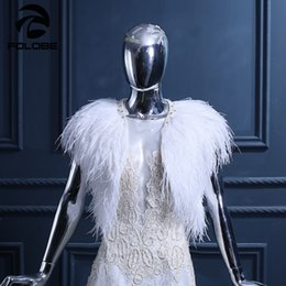 Scialle da sposa di lusso online-Luxury White Ostrich Feather Wedding Wraps Cape Bridal Jackets Womens Fashion Wedding Scialli Matrimonio Sposa Cape