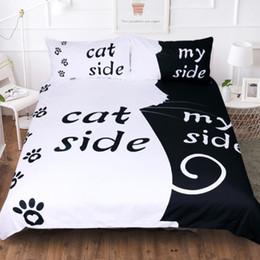 2020 reina del edredón del gato El nuevo diseñador de cama edredones Establece Catdogside de cama 4pcs hojas de cubierta del edredón de algodón de algodón simples Suministros rey ropa de cama Textiles para el hogar reina del edredón del gato baratos