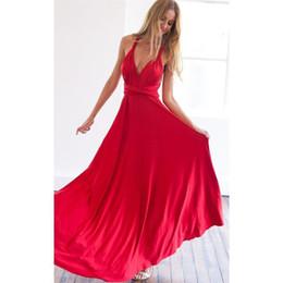 2020 vestido largo cruzado rojo de manga larga Partido de los vestidos del vestido de las mujeres atractivas del vestido del verano dama de honor larga de la manga del alboroto Láctea Wrap maxi sin tirantes rojo del partido de salida hueco del vendaje Vestidos vestido largo cruzado rojo de manga larga baratos