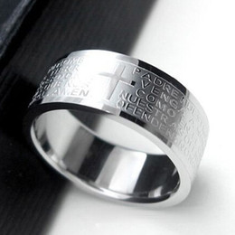 лорд кольца подарки Скидка Hot Selling Silver Rings For Men Women Stainless Steel Bible Lord's Prayer Cross Rings Punk Fashion Men Gift Jewelry