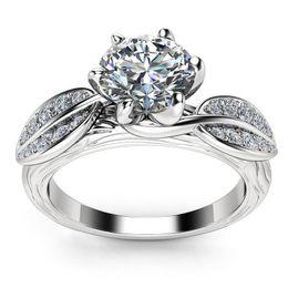 Canada Anneau de mariage en cristal autrichien blanc incrusté de cuivre de haute qualité avec bague de fiançailles en Europe cheap europe engagement ring Offre