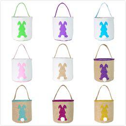 Impression de sacs de jute en Ligne-9 couleurs Lapin de Pâques Panier de Pâques Lapin Lapin Sacs Imprimé Toile / Jute Sac fourre-tout oeuf bonbons Paniers de casse-croûte