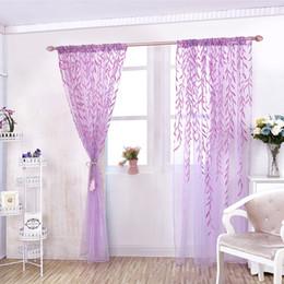 estores estilo casa Desconto Estilo Romântico folhas de salgueiro Impresso Tulle cortinas cortinas da janela Floral Voile Triagem Móveis para Sala Home Decor D25
