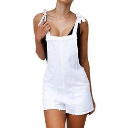 Suspensórios femininos grátis on-line-Livre de Avestruz Cintura Alta Denim Mulheres Suspender Calças Senhora Verão Feminino Macacão Solto Casual Jeans Curtos Feminino D2335