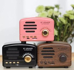 Cartão de natal portátil on-line-Retro portátil mini bluetooth speaker alto-falantes sem fio 5 w super bass música altifalantes suporte tf cartão de rádio f ...