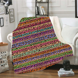 Mantas de lana para niños tiros online-Sherpa Manta 150 * 130cm girasol floral rayas leopardo 3D Impreso niños felpa del invierno Mantón Sofá Sofá tirar Fleece Wrap LJJA2961 Cabo