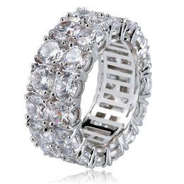 Anéis chapeados on-line-Anel de diamante Hip Hop Anel Iced Silver Banhado A Ouro Para O Amante Moda Jóias Por Atacado Conjunto de Diamante Cobre Cubic Zirconia