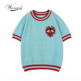 Pullover di fiori rosa online-Warmsway Bee Pattern Fiori Appliques Crop Top Maglietta Pullover Maglieria Estate Top 2019 Abbigliamento a righe coreane B-103J190424