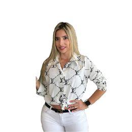2020 camisa de impressão gravata nova Carta Imprimir Moda Mulheres ocasional das senhoras Botão Office Frente Bow Tie Neck manga comprida de Slim Camisas Tops S-XXL 13229 desconto camisa de impressão gravata