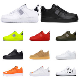 Sapatos freeshipping on-line-Nike air force 1 Freeshipping One 1 Dunk Das Mulheres Dos Homens Flyline Running Shoes Sports Skateboarding Ones Shoes Cut Preto Branco Formadores de Trigo Sneakers 36-45