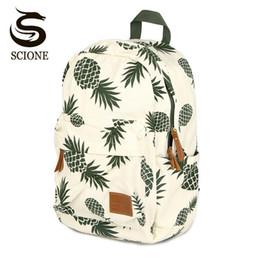 2020 sacos de fruta de abacaxi escolar Mulheres Fruit Impressão mochila de lona Backpacfor Meninas Adolescentes Bolsa Escola Verde Abacaxi mochila de viagem Big sacos de fruta de abacaxi barato