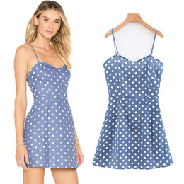 bule sexy dresses Coupons - ZTK Sleeveless Spaghetti Strap MiniDress 2019 Summer Women Polka Dot Short Sexy Dresses Hight Waist Party Bule Elegant Dress