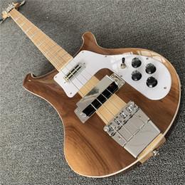 incrustaciones de abulón para guitarras Rebajas Envío gratis 4003 Natural Walnut Bass 4 cuerdas Bass Ric 4003 Abalone Triangle Inlays Electric Bass Guitar Maple Neck Thru Body One PC Neck