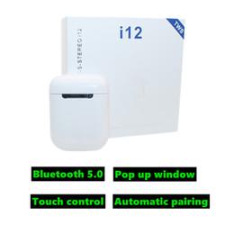 2019 auricolare bluetooth oppo vendita calda I12 tws bluetooth 5.0 cuffie senza fili supporta auricolari della cuffia senza fili di controllo touch Auricolari