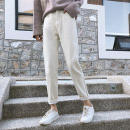 Canada Sarouel Jeans D'hiver Pantalon En Molleton Longueur De La Cheville Pantalon En Vrac Bouton Mouche Poches Solide Taille Haute Plat Femmes Angleterre Street Style cheap ankle pants flats Offre