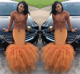Dusty Orange Mermaid Prom Dresses Illusion Manica lunga Paillettes Perline Appliques Tulle Ruffle Abito da sera Donna Formale Abito da festa BA8084 da abito da sposa glitter backless blu indietro fornitori