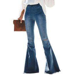 Женские рваные джинсы с расклешенными отверстиями Тонкие сексуальные винтажные бутсы Широкие джинсы с расклешенными ногами Офис Леди Белл Нижние джинсовые брюки 3шт A-LJA2977 от