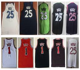 NCAA 2019 Hommes 1 # Derrick Rose Rouge Ville Noire Jersey 25 # Derrick Rose Broderie Couture Blanc Violet Maillots De Basketball Livraison Gratuite ? partir de fabricateur