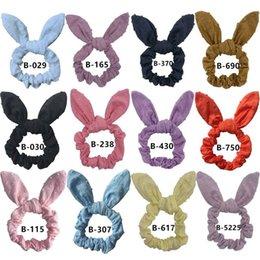 Tela de burbujas online-Bubble Jacquard Fabric Hair Scrunchie Niñas / Mujeres Bunny Ear Knot Bow Bandas para el cabello Lazo para el cabello Arcos Elástico Cola de caballo Titular Pelos arco