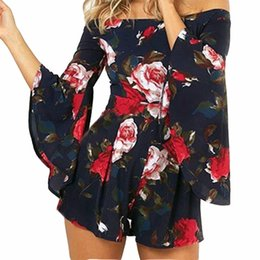 dd06a0c2494 2019 Summer Women Playsuits Flare Sleeve Slash Neck Sexy Jumpsuits Shorts  Bohemian Floral Printed Rompers Plus Size Beach GV524