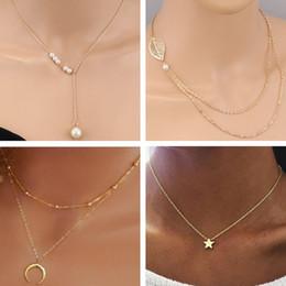 Tenande Style Frais Feuilles Moon Evil Eye Simulé Perle Croix Chaîne Colliers Pendentifs pour Femmes Cadeaux De Saint Valentin Bijoux