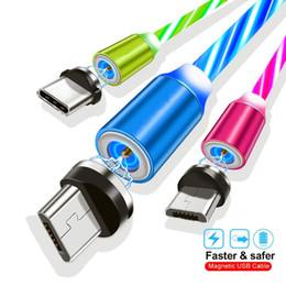 cable usb resplandor led Rebajas 2A Carga rápida LED Glow Flowing Tipo magnético c Cable Micro Usb Cables de 360 grados para Samsung S8 S9 S10 Htc lg teléfono android 1 m 3 pies
