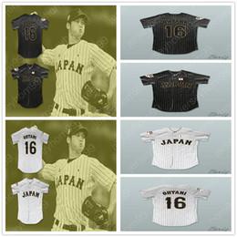 filme de estilo livre Desconto Estilo personalizado filme Shohei Ohtani 16 Japão Samurai preto branco Pinstriped Jerseys de beisebol frete grátis barato