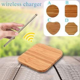 Caricabatterie wireless qi rotondo online-Turno di bambù Qi legno wireless Charing Charger Power Pad Fast Charger per Samsung iPhone All Qi-dispositivi abilitati DHL libero