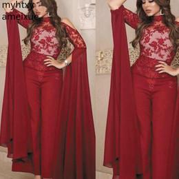 Argentina Hot Robe De Soiree Monos Burdeos para mujer 2019 Apliques de encaje Tallas grandes Pantalones de estilo árabe Bodas Abiti Da Cerimonia Sera cheap jumpsuits for weddings Suministro