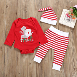 MUQGEW Infant Baby Boys Girls Christmas XMAS Santa Romper Striped Pants Hat Outfits  Set roupa infantil newborn set kids clothes 6d523e397
