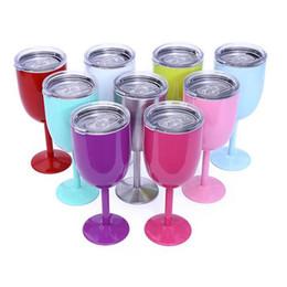 2019 boissons au vin rouge Verres à vin en acier de haute qualité 10oz gobelet en métal gobelet 9 verres à vin rouge de couleur avec couvercles coupe Champagne gobelet potable outils boissons au vin rouge pas cher