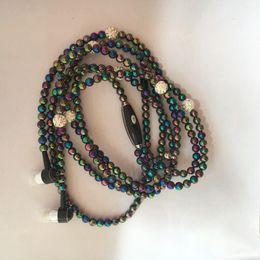 2019 collar de perlas auriculares Joyería de moda collar de perlas Auriculares Mic Beads 3.5mm en la oreja los auriculares con micrófono para teléfono móvil rebajas collar de perlas auriculares