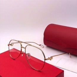 titan-metallrahmen Rabatt Neue modische Designer optische Brille 0110s einfachen Pilot Metallrahmen beliebte Avantgarde großzügige dekorative transparente Brille