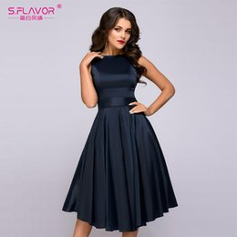b1c9c0ae184 S.FLAVOR vintage style knee-length dress 2018 Summer fashion sleeveless elegant  A-line vestidos with belt party short dress Y190117