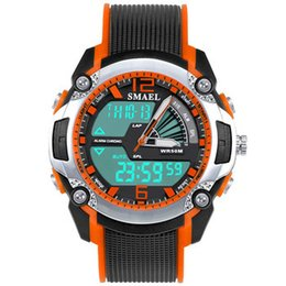 Guardare puntatore analogico online-Smael 1343 Bright Green Colored Watch Case Bambini Electronic Dual Display Pointer Type Orologio digitale analogico luminoso
