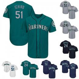 Grüne ken online-Hot Verkauf Mariners Seattle Jersey 51 Ichiro Suzuki 24 Ken Griffey Mens-Schwarz-Grün-Baseball-Shirts