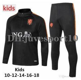 kit de venta al por mayor Rebajas Chaqueta de chándal de fútbol para niños Copa Mundial 2018 Países Bajos 18-19 MEMPHIS V.Persie Traje de entrenamiento de fútbol holandés