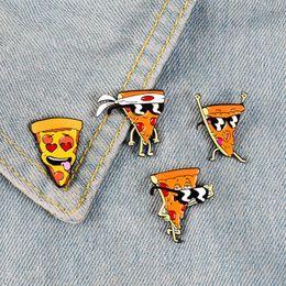 2019 pizza schmuck Lustige Pizza Man Emaille Pins Abzeichen Sonnenbrille Herz-Augen-Broschen Benutzerdefinierte Pastell Revers Pin-Denim-Hemd Cartoon Lebensmittel Schmuck Geschenk günstig pizza schmuck