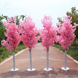 2019 heiße rosa pfingstrose blume 1.5M Höhe weiß Artificial Kirschblüten-römischen Säule Straße führt für Hochzeit Mall Eröffnet Props