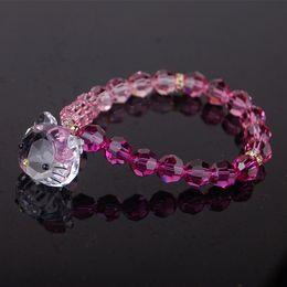 2019 braccialetti di fascino del gattino Ciondolo gatto rosa ciondolo testa di gatto braccialetto femminile austriaco di cristallo gioielli studenti carino sconti braccialetti di fascino del gattino