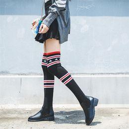 Fundas de cuero para botas online-manga de cabeza redonda de las nuevas mujeres de combinación de cuero en el largo tubo delgado y botas hasta la rodilla de punto de lana de las mujeres botas de caña alta