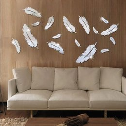 Bella Figura Della Piuma CASA dellautoadesivo Della parete Camera da letto Soggiorno 3D superficie dello Specchio adesivi decorativi