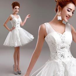 weiße koreanische hochzeitskleider Rabatt 2016 neue lager plus größe frauen brautkleid hochzeit Koreanische Weiße spitze kurze verband ballkleid sexy Brautjungfer Kleider