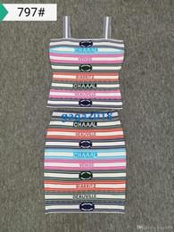 Il reggiseno scivola online-High-end donna slip top abito con strisce sexy maglia in tessuto multicolore camicia camicia slittamento reggiseno e abito tunica slim a tunica lunga corta