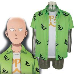 Blusa cosplay on-line-Ani me ONE PUNC HMAN Sai Tama Camisa Cosplay Manga Curta T-Shirt Blusa
