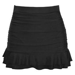 Bañador mujer talle alto online-2019 verano nueva venta caliente modelos femeninos de cintura alta de las mujeres con falda Bikini Bottom de cintura alta Shirred Bottom Ruffles traje de baño