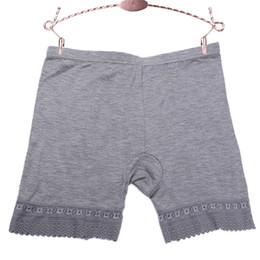 calcinha listrada azul Desconto Sem costura Plus Size Mulheres Segurança Calças Curtas Rendas Mulheres Cueca Calcinhas Mid-Cintura Shorts de Segurança Anti-Luz