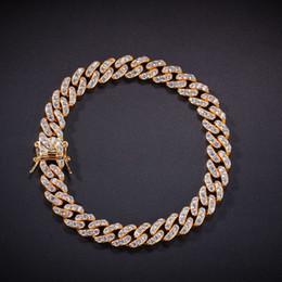 Pulseras de cadena de cobre online-8mm Hombres Zircon Link Pulsera Hip Hop Joyería Oro Cobre Material Helado hacia fuera Cadena de la CZ de las mujeres Hot Top Fashioncm