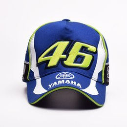 46 cap Coupons - Fashion- models YAMAHA racing motorcycle sport cap two is left under the white peaked cap 46 round